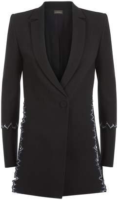 La Perla La Perla | Cocktail Black Virgin Wool Jacket With Slit Details And Embroidery | Xl | Black