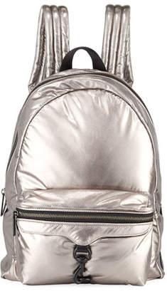 Rebecca Minkoff Riley Tall Puffy Backpack, Silver