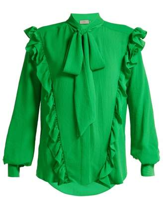 Preen by Thornton Bregazzi Billy Ruffled Crepe Blouse - Womens - Green