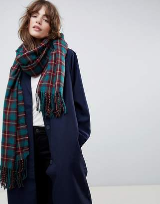 Asos DESIGN oversized scarf in green and burgundy check