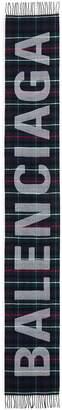 Balenciaga Logo tartan plaid wool scarf