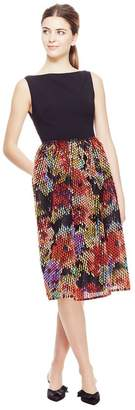 Lela Rose Embroidered Cut Fringe Boat Neck Tucked Skirt Dress