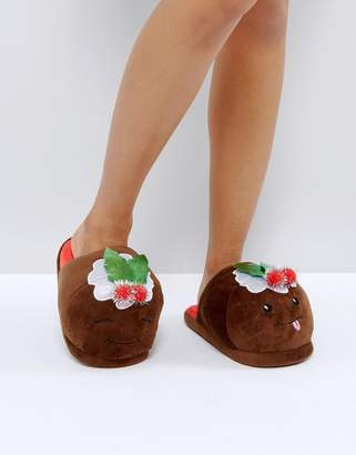 Asos DESIGN NUTTY PUDS Holidays Pudding Slippers