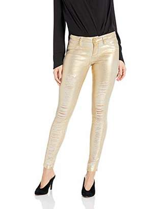 GUESS Women's Metallic Sexy Curve Jean, Gold, 26