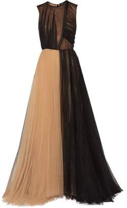 Derek Lam Two-Tone Ruched Pleated Tulle Gown