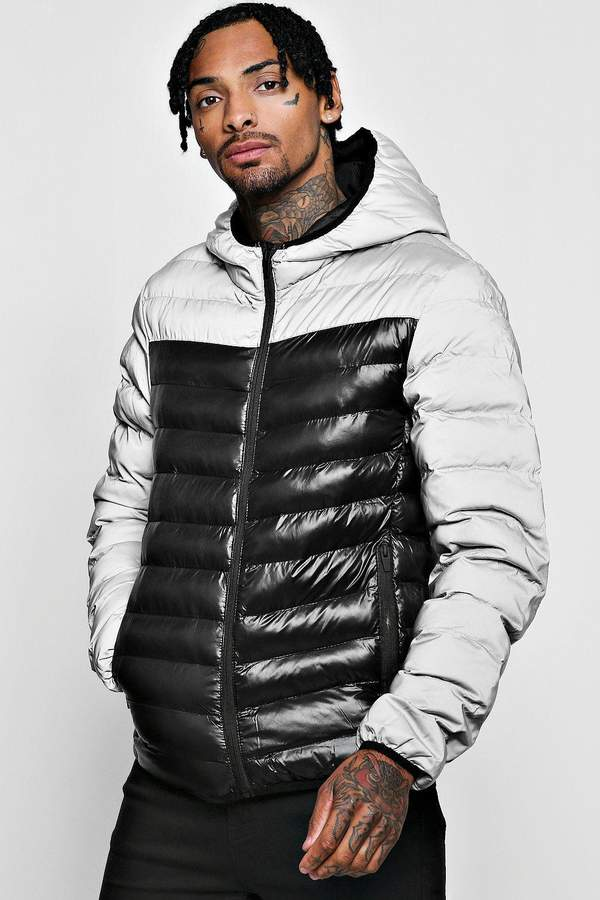 Reflective Contrast Puffer Jacket