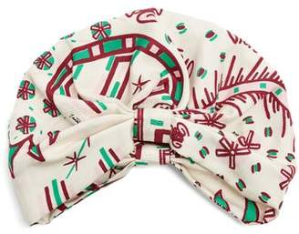 Valentino Abstract Print Silk Twill Turban Hat - Womens - White Multi