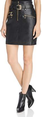GUESS Gia High-Waist Faux Leather Moto Skirt