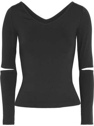 Helmut Lang - Cutout Stretch-jersey Top - Black $160 thestylecure.com
