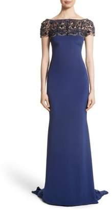 Marchesa Embellished Bodice Silk Mermaid Gown