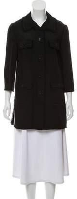 Dolce & Gabbana Frayed Trim Point-Collar Jacket Black Frayed Trim Point-Collar Jacket