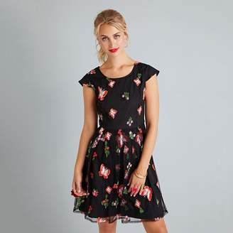 Yumi - Black Floral Embroidered 'Elissa' Prom Dress