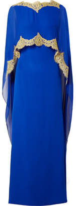 Reem Acra - Cape-effect Embellished Lace-trimmed Silk-chiffon Gown - Bright blue