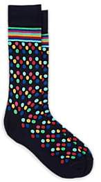 Paul Smith Men's Dotted & Striped Stretch-Cotton Mid-Calf Socks - Blue Pat.