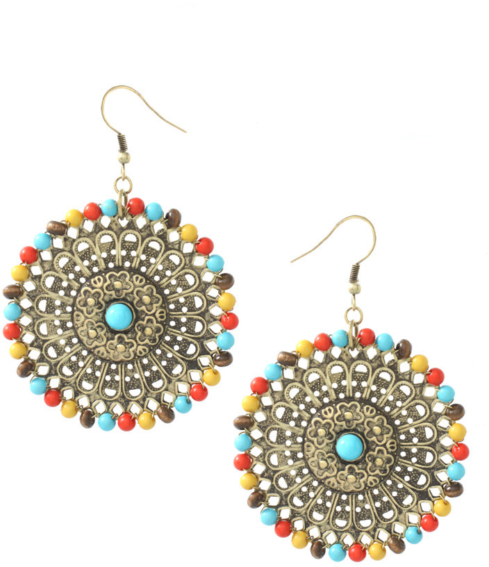 ASOS Ethnic Style Filigree Earrings With Beaded Surround (+)