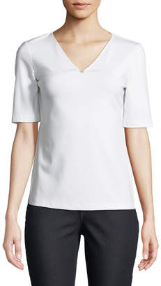 Lafayette 148 New York Short-Sleeve V-Neck Stretch-Cotton Top w/ Chain Detail
