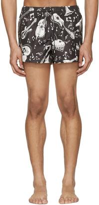 Dolce & Gabbana Black & White Instrument Swim Shorts $445 thestylecure.com