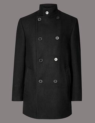 Marks and Spencer Wool Blend Funnel Neck Overcoat