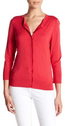 Susina 3/4 Sleeve Crew Neck Cardigan (Regular & Petite)