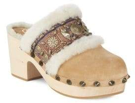 Ash Jade Leather Mules with Fur