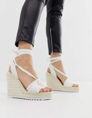 Juicy Couture tie ankle espadrille wedges
