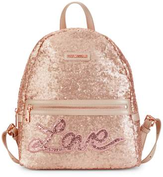 Love Moschino Sequins Metallic Backpack