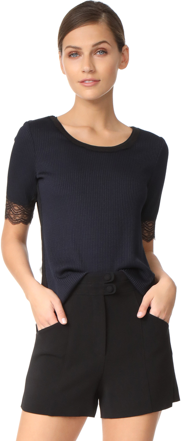 3.1 Phillip Lim 3.1 Phillip Lim Rib T Shirt with Lace Sleeve Detail