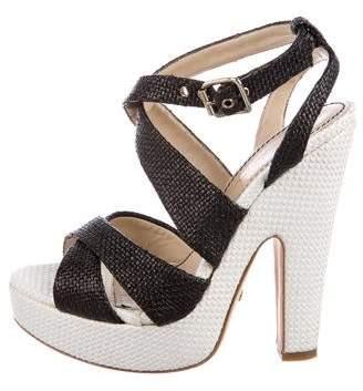 Jerome C. Rousseau Raffia Platform Sandals