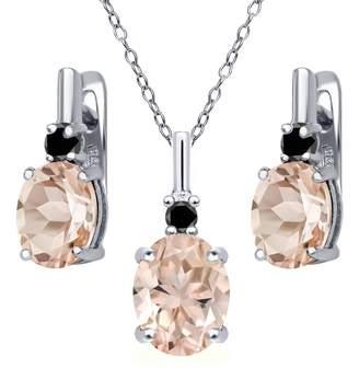 Black Diamond Gem Stone King 4.87 Ct Peach Morganite 925 Sterling Silver Pendant Earrings Set
