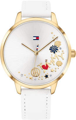 Tommy Hilfiger Women White Leather Strap Watch 38mm
