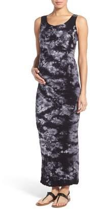 Tees by Tina 'Lattice' Tie Dye Textured Maternity Maxi Dress