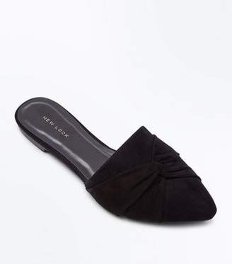 New Look Black Suedette Twist Front Pointed Mules