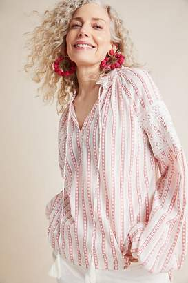 Lace-Trimmed Textured-Striped Peasant Blouse