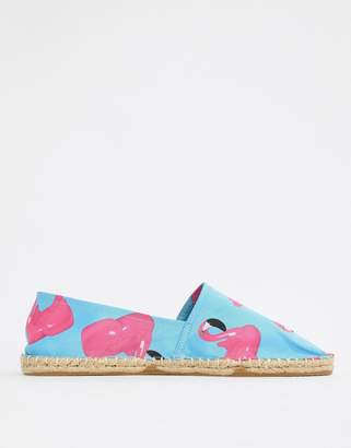 Asos Design DESIGN two-piece espadrilles in blue with flamingo print