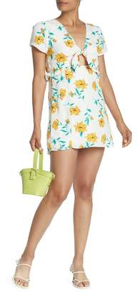 Lush Floral Front Tie Short Sleeve Dress