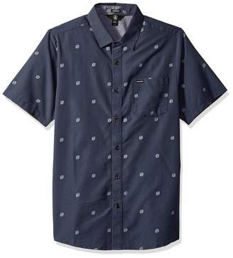 Volcom Men's Frequency Dot Modern Fit Woven Button Up Short Sleeve Shirt