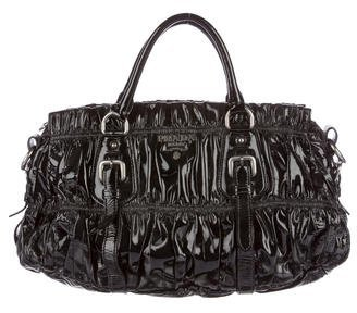 prada Prada Vernice Gaufre Handle Bag