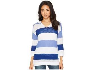 Tribal Cotton Slub Yarn Hooded Stripe Sweater Women's Sweater