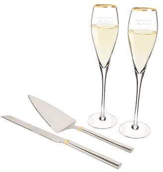 Cathy's Concepts Cathys Concepts 4 Piece Champagne Flutes and Cake Serving Set