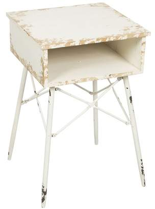 Distressed White Wood And Metal Open Drawer Bedside Table