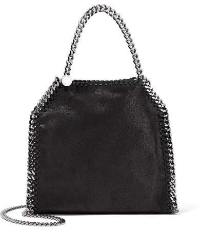 Stella McCartney - The Falabella Tiny Faux Brushed-leather Shoulder Bag - Black