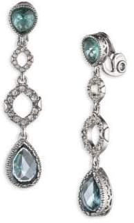 Jenny Packham Silvertone Swarovski Crystal Clip-On Drop Earrings