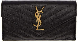 Saint Laurent Black and Gold Large Monogramme Flap Wallet