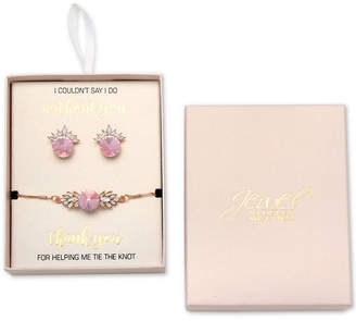 Badgley Mischka Crystal Stud Earrings & Slider Bracelet Set