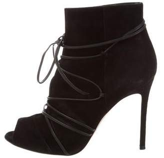 Gianvito Rossi Suede Peep-Toe Ankle Boots