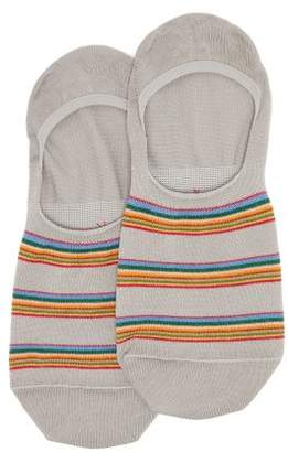 Paul Smith Striped Cotton Blend Invisible Socks - Mens - Grey