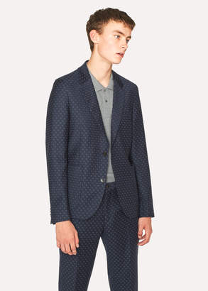 Paul Smith Men's Mid-Fit Navy Checkerboard-Cross Jacquard Blazer