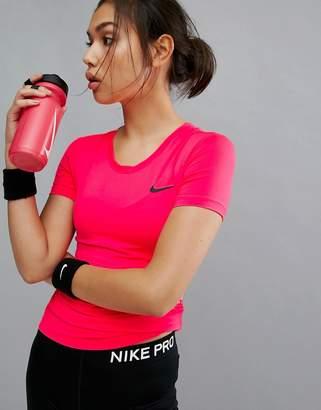 Nike Training Pro Training Short Sleeve Tee In Pink