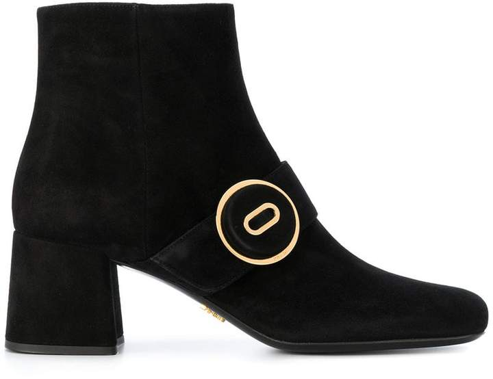 Prada Black Suede Buttoned 65 Ankle Boots