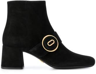Prada Black Buttoned 65 Suede Ankle Boots